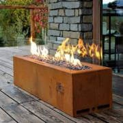 Outdoor corten gas fireplace