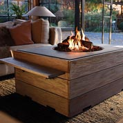 Patio tabels with built-in fireplace