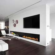Tv above a bio fireplace