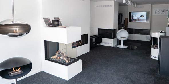 Bio ethanol fireplace showroom in Denmark