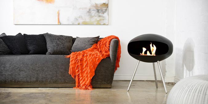 Eco friendly bio ethanol fireplace in black