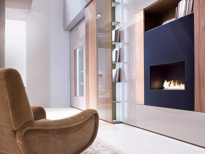 One-sided built-in bioethanol fireplaces