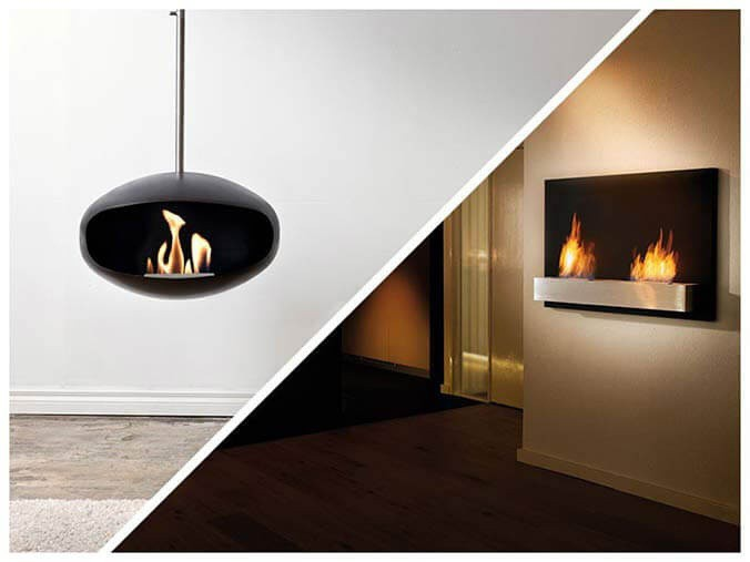 Mounted bio fireplaces