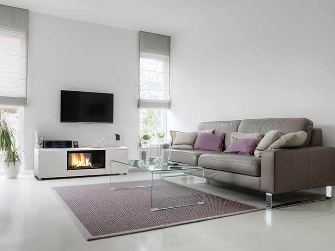 Automatic freestanding white bioethanol fireplace