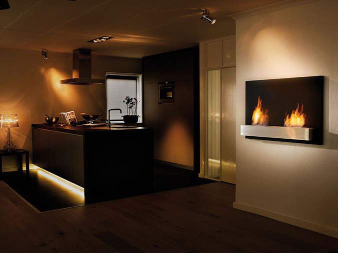 Wall-mounted bio fireplace