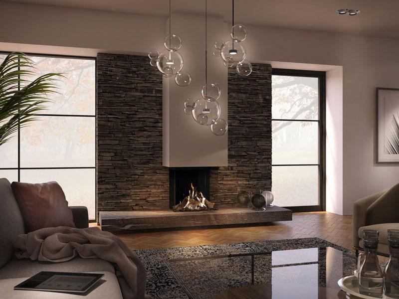 3 sided built in gas fireplace