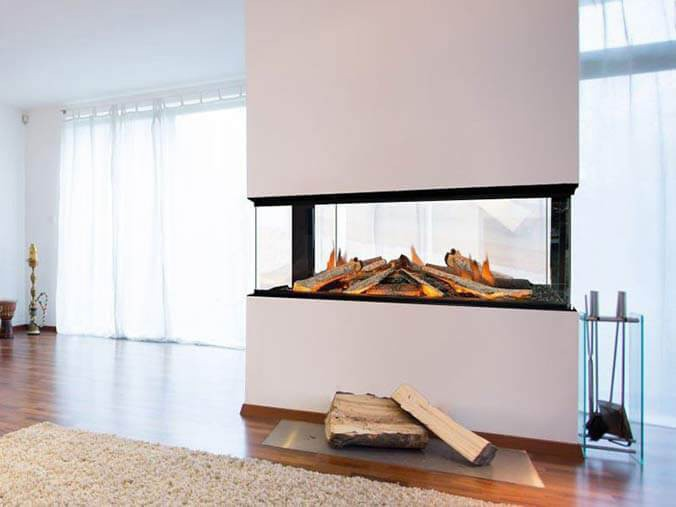 Four sided built-in electric fireplace