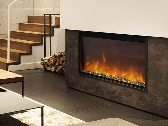 one sided built-in electric fireplace
