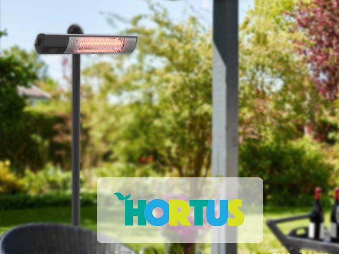 HORTUS patio heater in a garden