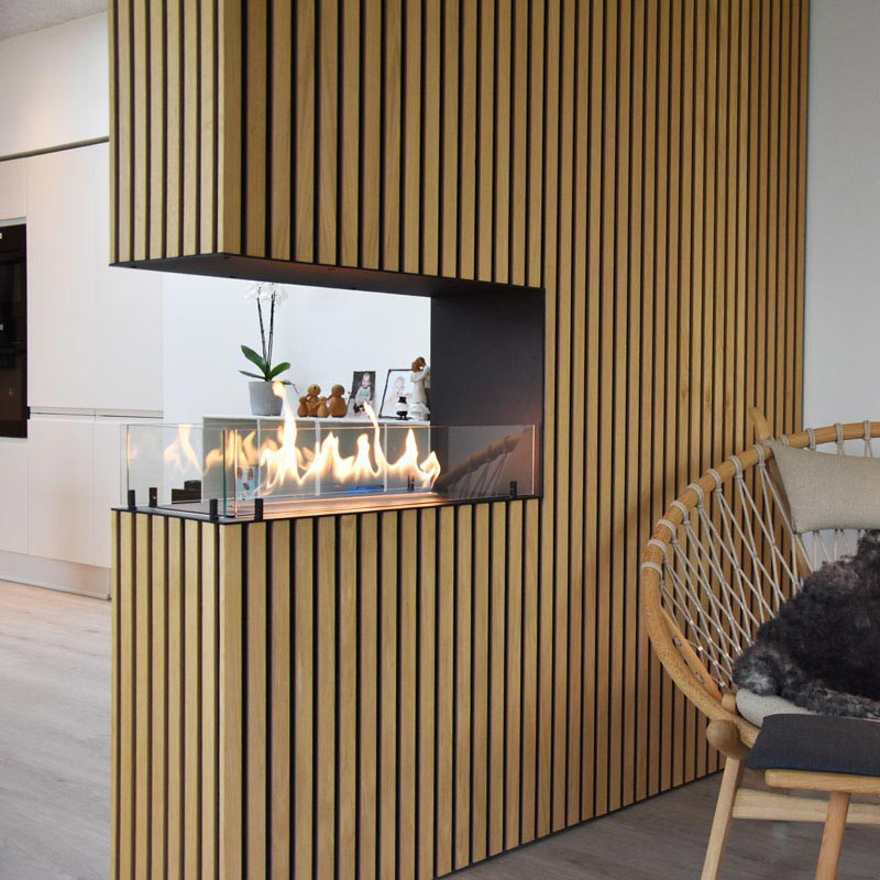 Foco Room Divider 800 3 Sided Bio Fire Bioethanol Fireplace