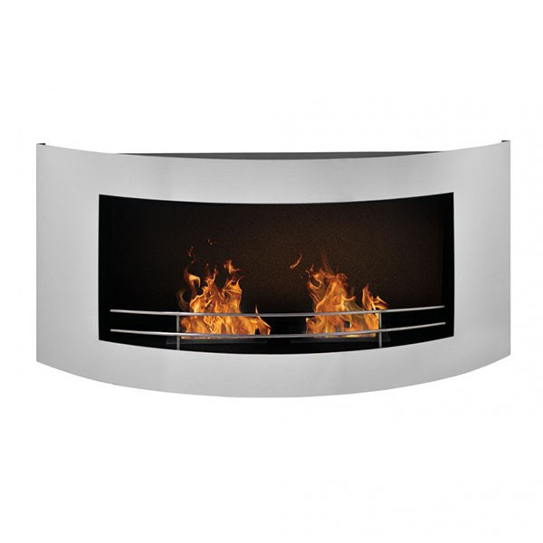 Bio Fireplace In Steel For Wall With Fireguard And Two 1l