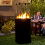 Outdoor black gas fireplace