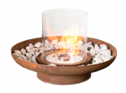 Outside bio fireplace in round design produced in steel and glass. Burning time of up to 10 hours. Size: Ø: 70 x H: 42,3 cm.