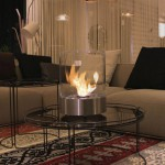 Cylinder shaped bio-ethanol fireplace in a modern design. Made of stainless steel and glass around the burner