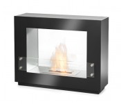 Innovative steel and glass fireplace in black with a 1,5 L burner. At only 27.2 kg its easily moved.