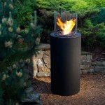 Totem bioethanol fireplace in circular design. Perfect for outside use. Dimensions: Ø:39,5 x H:106,6 cm