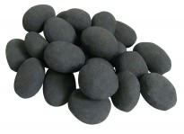 24 Black ceramic pebbles, an elegant bio fireplace decoration that makes the fire even more inviting.