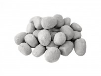 24 Grey ceramic pebbles, an elegant bio fireplace decoration that makes the fire even more inviting.