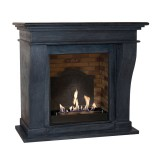 Kreta bio fireplace in black fossil stone look