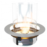 Modern bioethanol insert made in stainless steel, with glass accents. Maximum burning time of 10 hours.