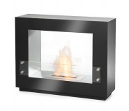 Innovative steel and glass fireplace in black with a 1,5 L burner. At only 29 kg its easily moved.