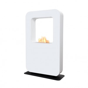 Safretti Curva XT - White, two-sided, freestanding bio fire