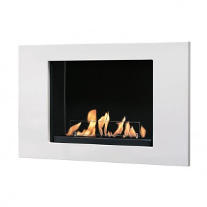 Contemporary, white steel bioethanol fireplace. The 1L  burner provides up to 4 hours of burning time.