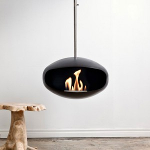 Celing-mounted bioethanol fireplace Cocoon Aeris Back with steel mounting rod