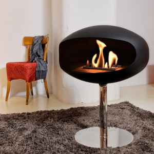 Cocoon Pedestal bio fireplace in black