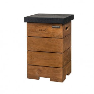 Wooden side table with a black surface
