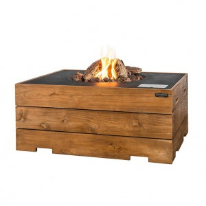 Garden table with built-in gas fireplace