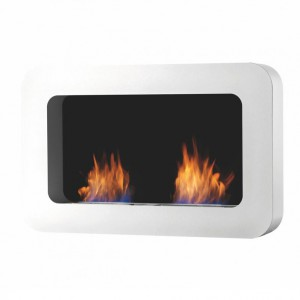 Safretti Curva DL white, wall hanging bio fire