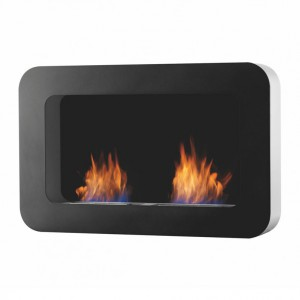 Safretti Curva DL - Black, wall mounted bio fireplace