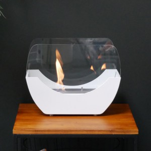 White cradle shaped fireplace with glass panels- the 1 L burner provide up to 2,5 h of burning.