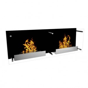 Impressive fireplace with 2 burners, each 1,5L . Burning time of up to 6h. D: 40 x 120 x 21 cm