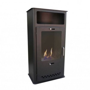 Inviting, standing fireplace in black with a 1,5 L burner that offers up to 6 hours burn time.