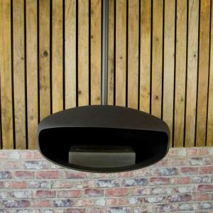 Black UFO-60 Hein & Haugaard handcrafted ceiling-mounted fireplace