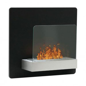 Elegant wall mounted fireplace in striking black, featuring a 1,5L burner.