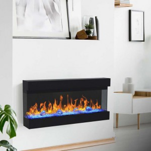 Isle three-sided electric fireplace