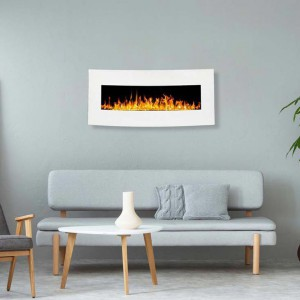 Middlesex white curved electric fireplace for wall