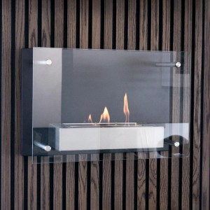 Black, wall mounted fireplace with a safety glass window panel. Lightweight at 10 kg, yet solid.