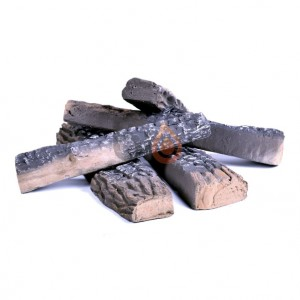 5 Decorative, ceramic wooden logs in realistic design for use with ethanol fireplace to achieve traditional look.
