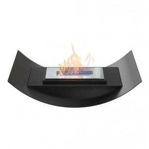Curved bio fireplace for table