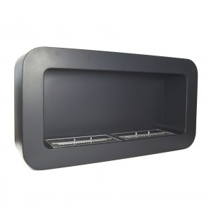 Elegantly designed, black bio fireplace for wall mounting with a burning time of up to 4 hours.